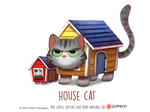 Daily Paint 1470. House Cat by Cryptid-Creations