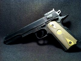 Brass Handled Colt 1911 Prop - all plastic by JohnsonArms