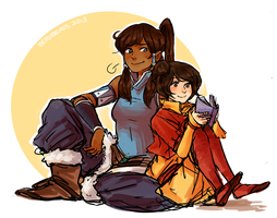 Korra and Jinora by vbfrap