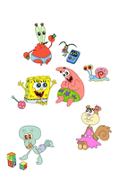 Spongebob Characters (Babies) by WhiteMageOfTermina