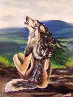 anthro native wolf by Talaanita