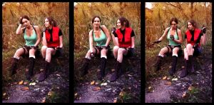 Lara Croft and Claire Redfield by LeKsoTiger