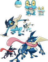 656, 657 and 658 - Froakie Evolutionary Line by Tails19950