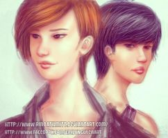 Chanyeol and Kai -- CELL PHONE PAINTING by emilynguyenart