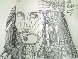 Captain Jack Sparrow Contour Drawing by FFgeek97116