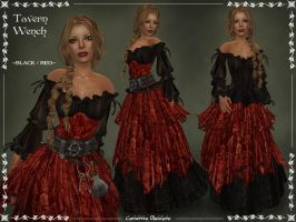 Tavern Wench BLACK-RED by Elvina-Ewing