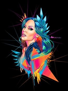 Neon Goddess Kylie Minogue by KenjiArts