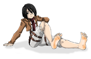 Mikasa Relaxing Showing Her Feet Soles by amyroseater