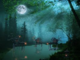 Night River by lilleypants