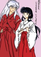 Inuyasha and Kikyo by HallowShell15