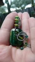 Green Tigers Eye Wire Wrap by Eviecats
