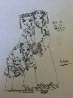 ancient chinese family drawing in pen by OTMARomanov