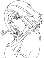 Yuna lineart by kittenangel116
