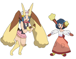 Lopunny Dawn and Buneary Johanna by Xysash