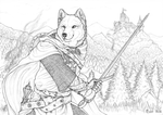 Order of the Wolf - Transylvania - Lineart by Qzurr