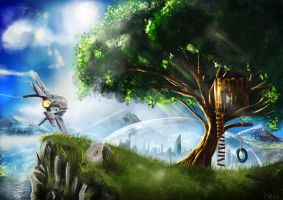 A Tree and a Spaceship by niukniuk