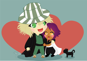 Urahara and Yoruichi chibi by iveinbox
