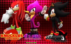 Knuckles, Espio, and Shadow - Wallpaper[Request] by Knuxy7789