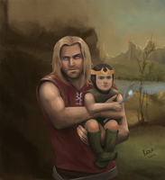 Thor and child Loki by prince-kristian