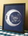 Owl and Moon Screen Print by puka23