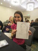Sarah Moore Holding Quick Drawing by Poorartman