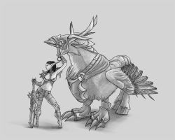 Night Elf Rogue and Hippogryph by greyf0xuk