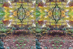 Kaleidoscoped Woodland Garden Scene by aegiandyad