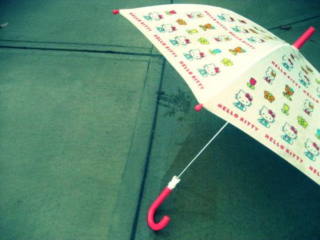 Hello Kitty Umbrella by SailTheClouds
