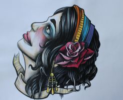 Tattoo Flash-Gypsy Head by lickingstitches