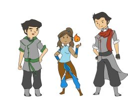 Adventure Time Korra and Krew by Cinnapsis