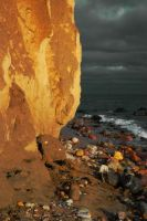 Sunset cliff background by iisjahstock
