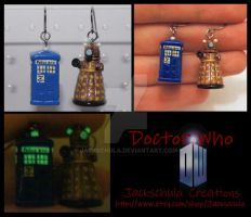 Glow in the Dark Dr Who Tardis Dalek Earrings by Jackschula