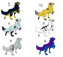 6 Wolf Adoptables by DemonSnake