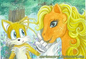 ACEO_Tails_and_Applejack by RainWaterfallsZone