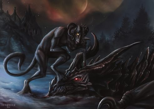Karank and Alduin by Zungwood