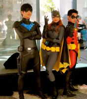 Nightwing,robin,and Batgirl cosplay! by eriffire56