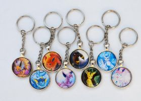 Eeveelution Keychains by Kaira27
