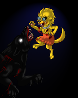 Werewolf Lisa Vs Dark werewolf by cyngawolf