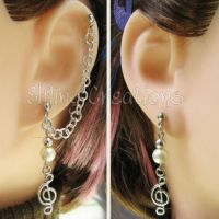 Silver and Pearl Music Cartilage Chain Earrings by merigreenleaf