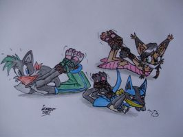 Shadz, Lucario and Nicole by Levvvar