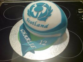 Rugby Ball Cake by Catzombies