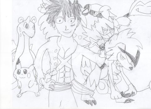 Luffy Alola Team by chaoscontrolmaster