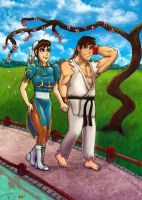 Chun Li And Ryu Take A Romantic Walk Color by BasiliusGalenus