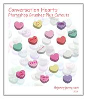 Conversation Hearts Photoshop Brushes plus Cutouts by ibjennyjenny