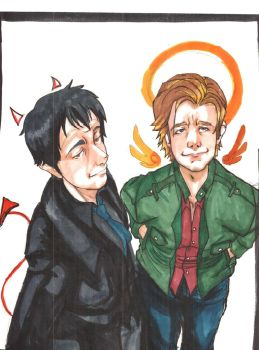 crowley and gabriel rescan by Arch-Trickster