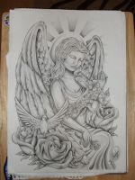 Angel tattoo design by onksy