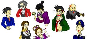 Phoenix Wright doodles by HeroInTraining