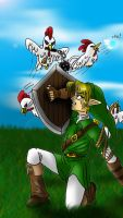 Link vs. Homicidal Cuccos by Art1st4786