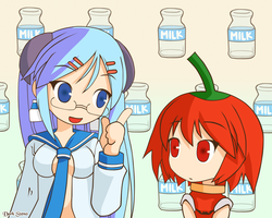 Milk-san teaching Habanero-tan by maskawaih