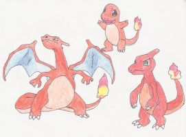 Charmander's Evolutions by koala-net